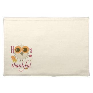 Customizable Place Mats Thanksgiving Pilgrim Owl