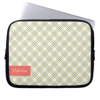 Customizable Plaid Laptop Sleeve with Your Name