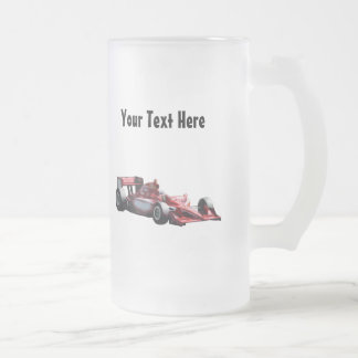 Customizable Plain Race Car 16 Oz Frosted Glass Beer Mug