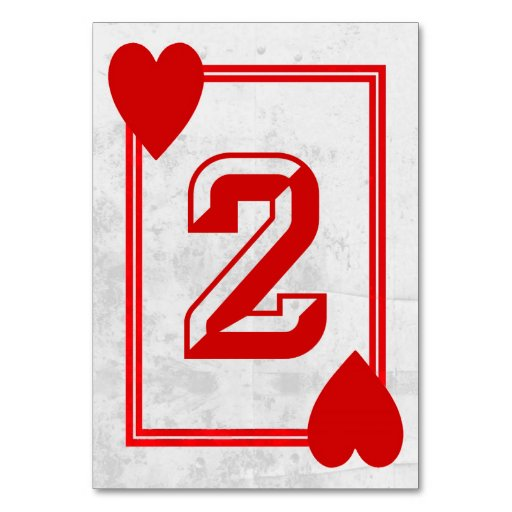 Customizable Playing Card Table Numbers No 2 Zazzle