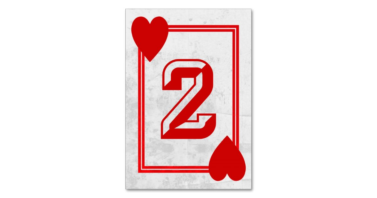 Customizable Playing Card Table Numbers No 2