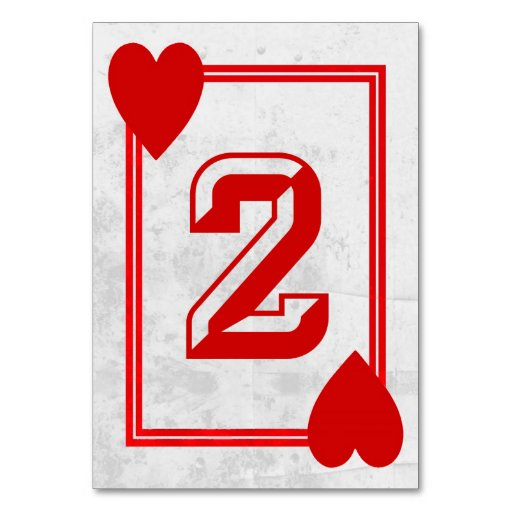 Customizable Playing Card Table Numbers No 2 Table Card