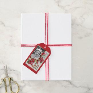 Customizable Poinsettia Photo Gift Tags