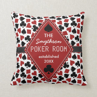 Customizable Poker Room Casino Throw Pillow
