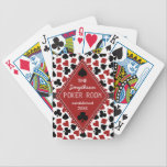 "Customizable Poker Room or Club Casino Custom Bicycle Playing Cards<br><div class=""desc"">Create your own custom poker room / poker club playing card deck using this cool, easy template. The background has a pattern of playing card suits (spades, clovers, hearts, diamonds). Over that, there is a black ribbon graphic with a red diamond where you can add all your details in white,...</div>"
