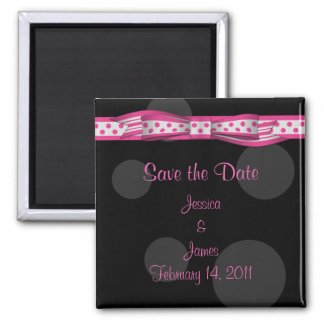Customizable Polka Dot Save the Date Magnet