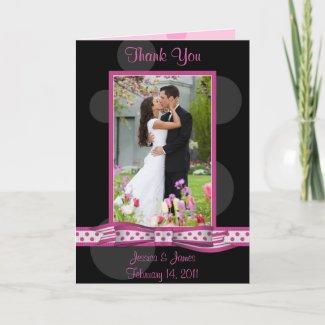 Matching Pink and Black Polka Dot Thank You Card
