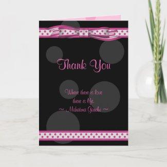 Customizable Polka Dot Thank You Card card