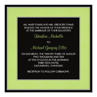 Customizable Polka Dot Wedding Invitation - Green