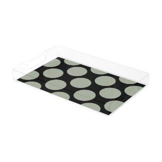Customizable Polka Dots Pattern any Color on Black Acrylic Tray