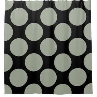 Customizable Polka Dots Pattern any Color on Black Shower Curtain