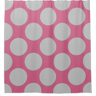 Customizable Polka Dots Pattern any Color on Pink Shower Curtain