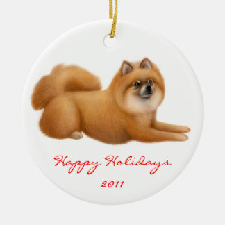 Customizable Pomeranian Puppy Dog Ornament