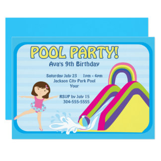 Customizable Pool Party Birthday Card