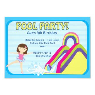 "Customizable Pool Party Birthday 5"" X 7"" Invitation Card"