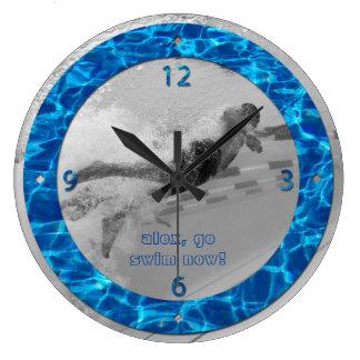 Customizable Pool Water Photo Frame Deep Blue Swim Clock