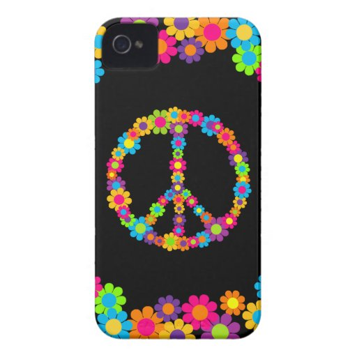 Customizable Pop Flower Power Peace iPhone 4 Case-Mate Cases