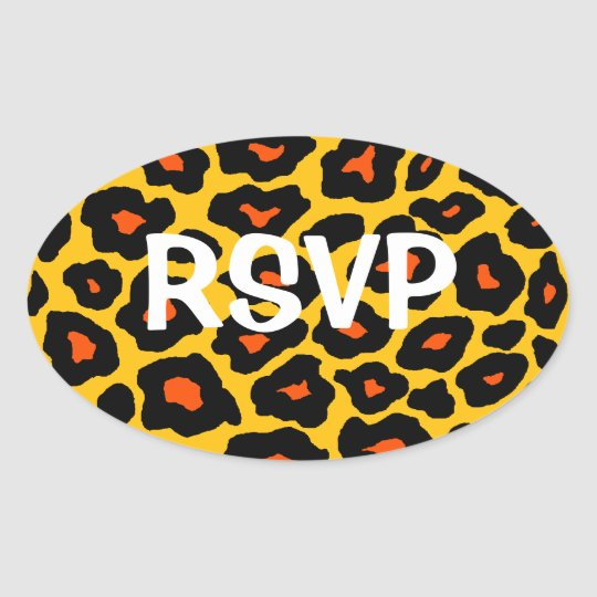 Customizable Pop Leopard Oval Sticker