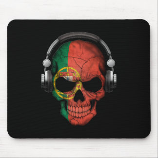 Customizable Portuguese Dj Skull with Headphones Mouse Pad