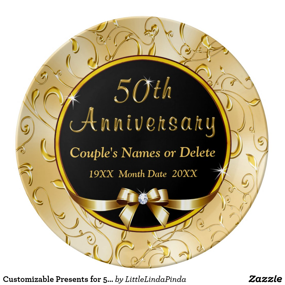 Customizable Presents for 50th Wedding Anniversary Plate