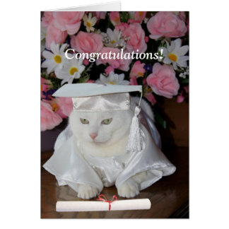 Customizable Pretty Cat Female Graduation Card