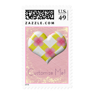 Customizable Pretty Heart Postage Stamps