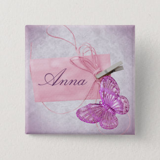 Customizable Pretty Pink Butterfly Design Button