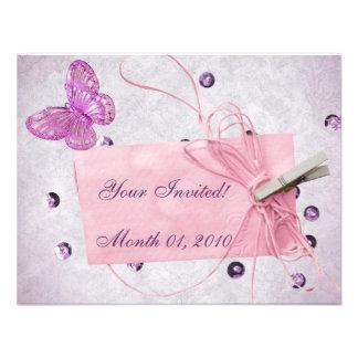 Customizable Pretty Pink Butterfly Design Custom Invites