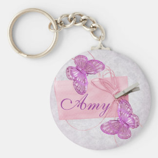 Customizable Pretty Pink Butterfly Design Keychain