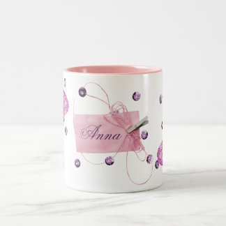 Customizable Pretty Pink Butterfly Design Two-Tone Coffee Mug