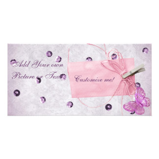 Customizable Pretty Pink Butterfly Design Photo Card