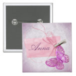 Customizable Pretty Pink Butterfly Design Pin