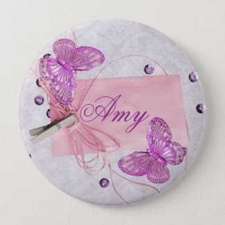Customizable Pretty Pink Butterfly Design Pinback Button