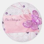 Customizable Pretty Pink Butterfly Design Round Sticker