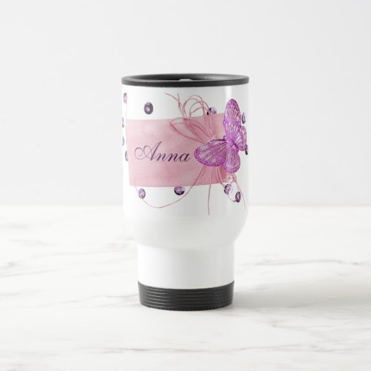 Customizable Pretty Pink Butterfly Design Travel Mug