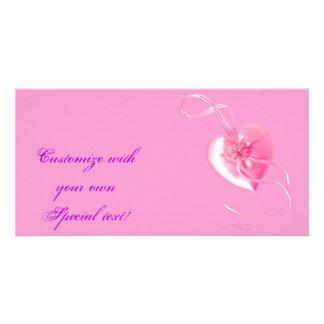 Customizable *Pretty Pink Heart* Love Design Custom Photo Card