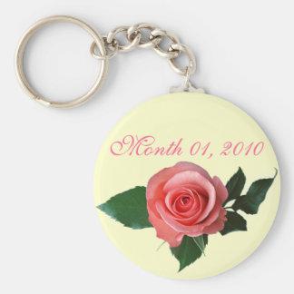 Customizable Pretty Pink Rose Key Chain