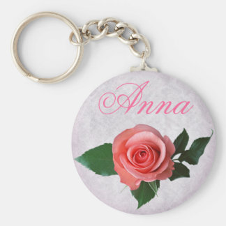 Customizable Pretty Pink Rose Keychains