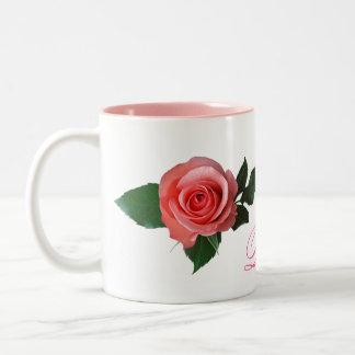 Customizable Pretty Pink Rose Two-Tone Coffee Mug