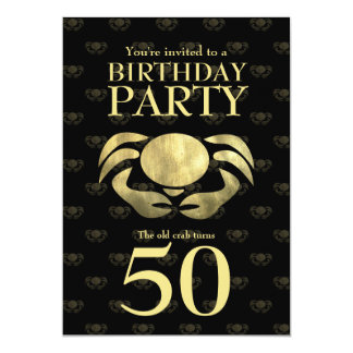 Customizable Printed Rustic Gold Crab Birthday 5x7 Paper Invitation Card