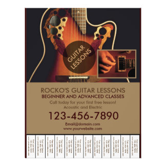 Customizable professional guitar lesson flyers