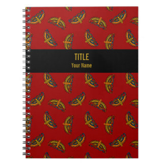 Customizable Project Notebook: Butterflies on Red