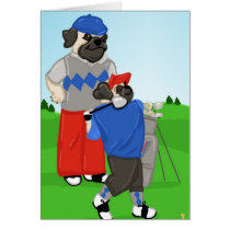 Customizable Pugs Golfing Tees and Gifts Card