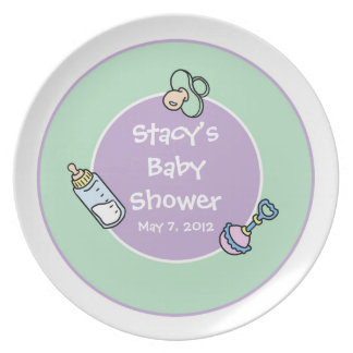 Customizable Purple and Green Baby Shower Plate