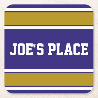 Customizable Purple and Old Gold Sports Stripes Square Paper Coaster