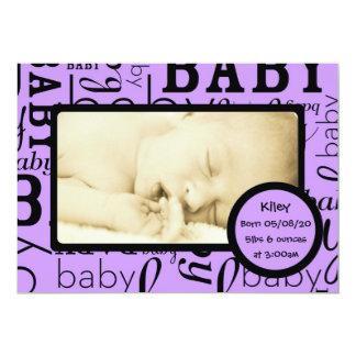 Customizable purple baby photo announcements