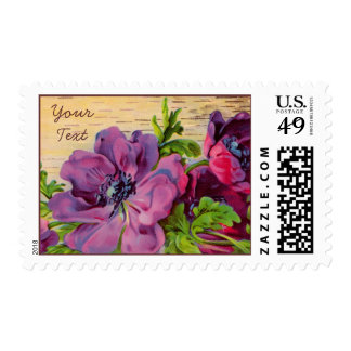 Customizable Purple Floral Card - Add Text Postage Stamps