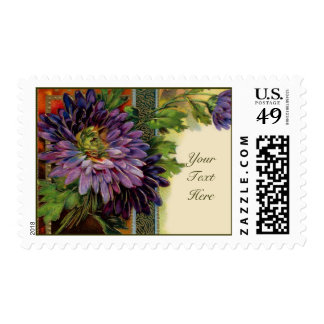 Customizable Purple Flower Card Stamps