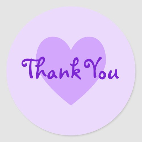 Customizable Purple Heart Lavender Thank You Classic Round Sticker