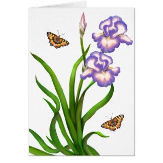 Customizable Purple Irises with Butterflies Card